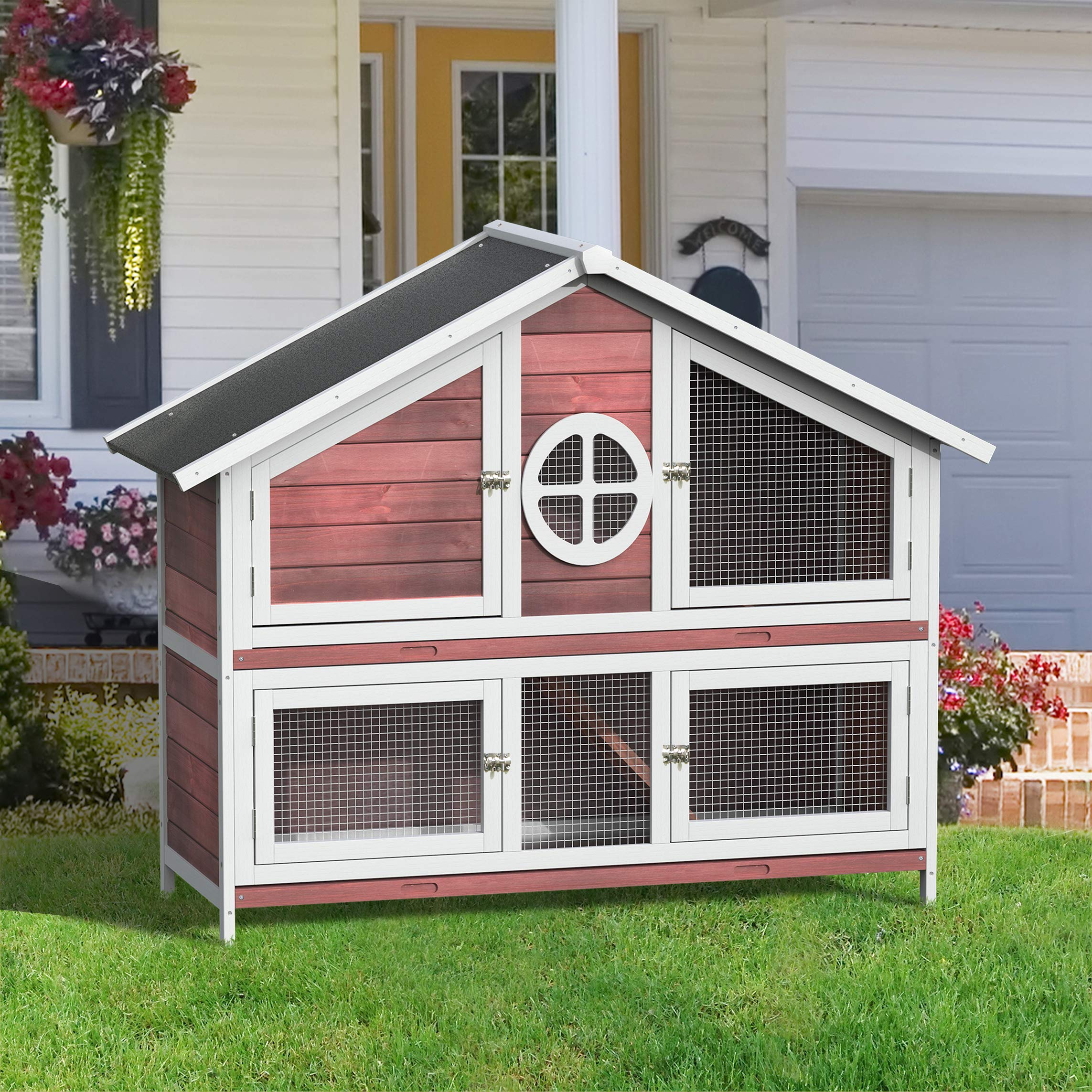 Merax Lz Leisure Zone 56'' Rabbit Hutch, Wooden Bunny Cage Small Animal Hutch Indoor & Outdoor -Red by Merax