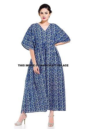 7254c9d8b4 New Indian Long Kaftan Dress Hippy Boho Maxi, 1 Size Plus Women Caftan Top Dress  Blue at Amazon Women's Clothing store:
