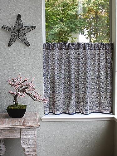 Saffron Marigold Pacific Blue Hand Printed Tier Kitchen Curtain – Oriental Kitchen Curtain Voile Indigo Blue Curtain 46 x 30 inches