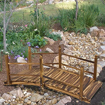 Superior Wooden Bridge 5u0027 Stained Finish Decorative Solid Wood Garden Pond Bridge New