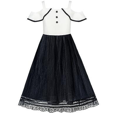 be098848a6c09 Sunny Fashion Robe Fille Blanc et Noir Mousseline de Soie Dentelle Accueil  Froid 6-12 Ans: Amazon.fr: Vêtements et accessoires