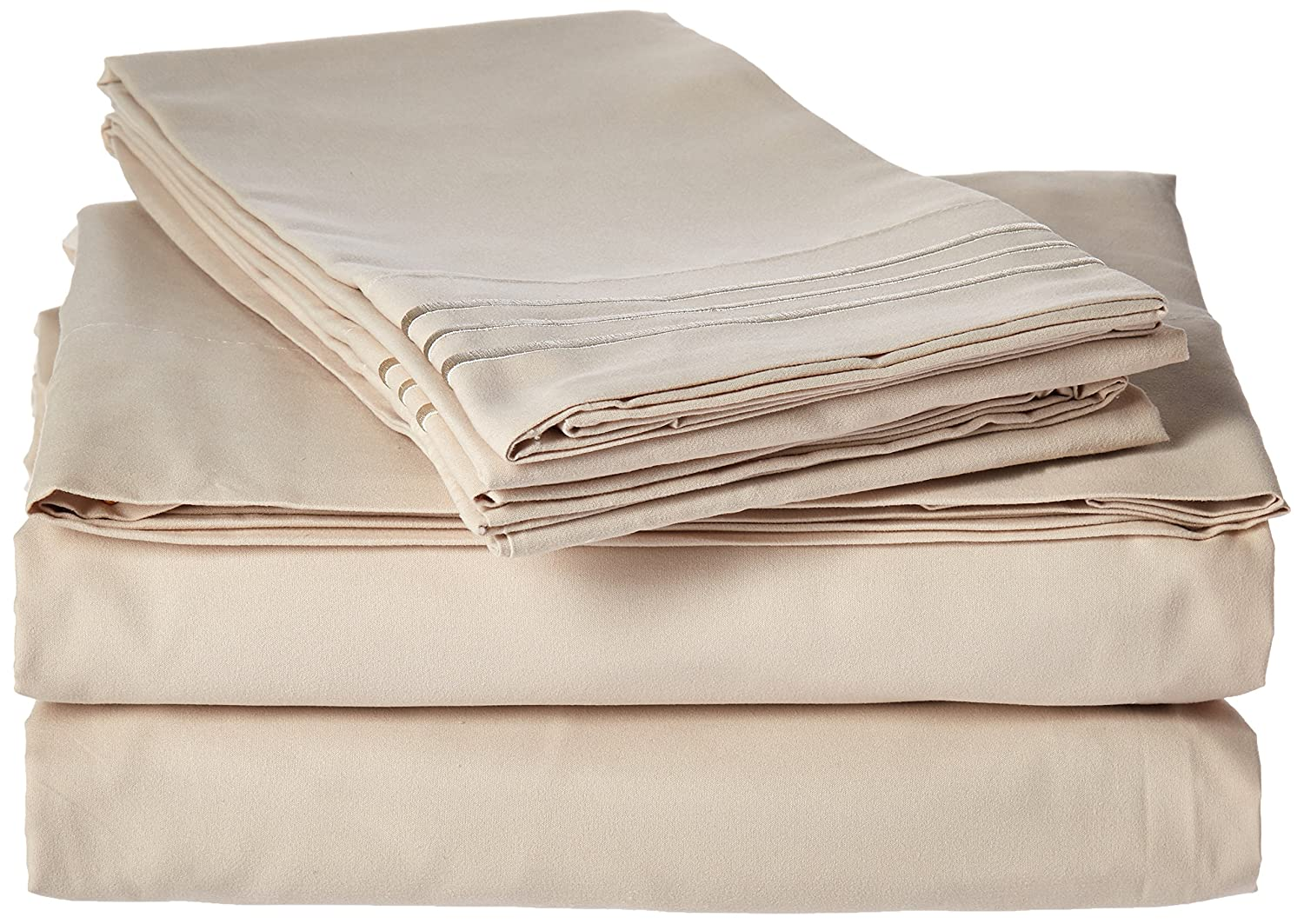 Full//Queen Beige//Tan Elegance Linen Wrinkle-Free-1500 Thread Count Egyptian Quality 3Pc Duvet Cover