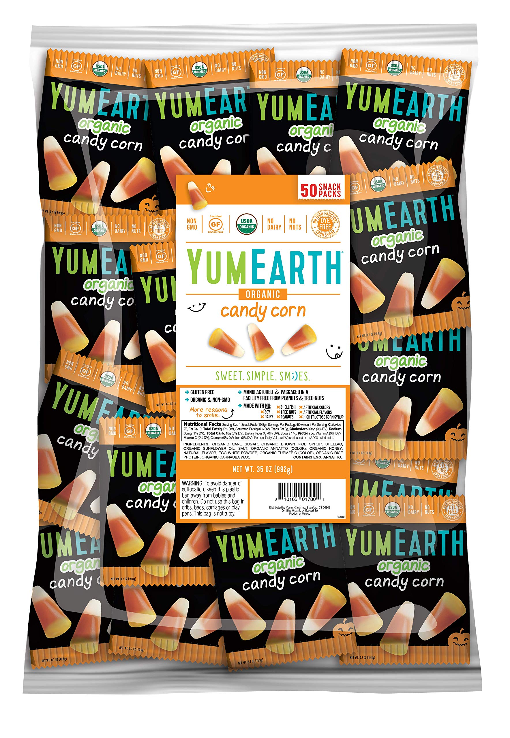 YumEarth Organic Gluten Free Candy Corn 0.7 Ounce Snack Packs, 50 Count