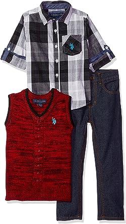 Polo Assn Sweater Vest and Denim Jean Boys Long Sleeve Fancy Sport Shirt U.S