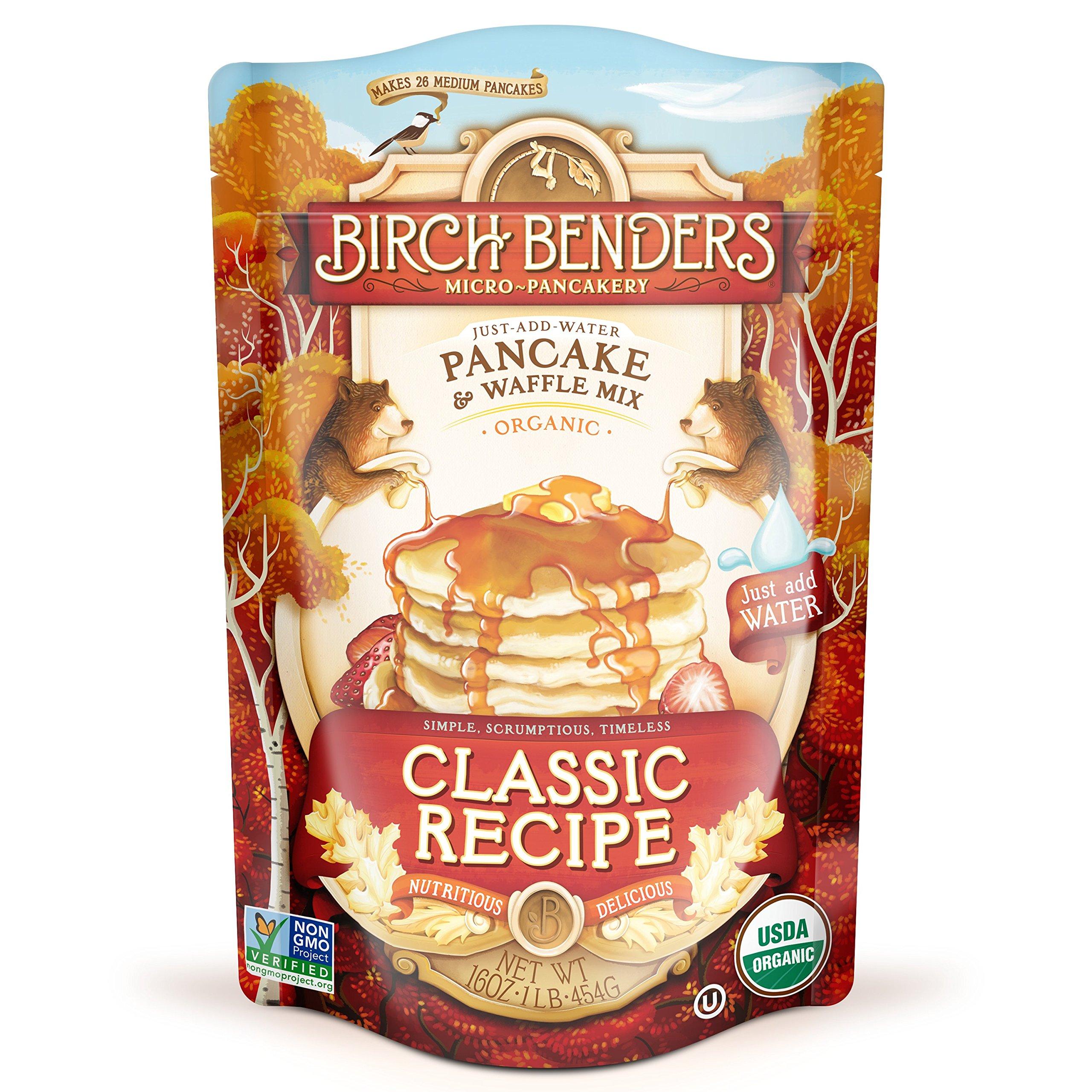 Organic Pancake and Waffle Mix, Classic Recipe by Birch Benders, Whole Grain, Non-GMO, 16oz