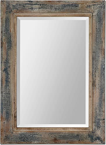 Boutique 38 Distressed Dark Blue Wood Wall Mirror