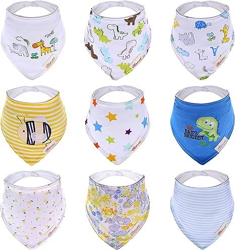 Ateid Triángulo Rizo Baberos de algodón - Paquete de 9 Diseños ...