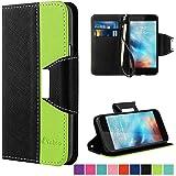 iPhone 6 Hülle, Vakoo iPhone 6 6S Handyhülle im Buchstyle Premium Kunstleder Tasche Flip Case Etui Schutz Hülle für iPhone 6/6S (Schwarz Grün)