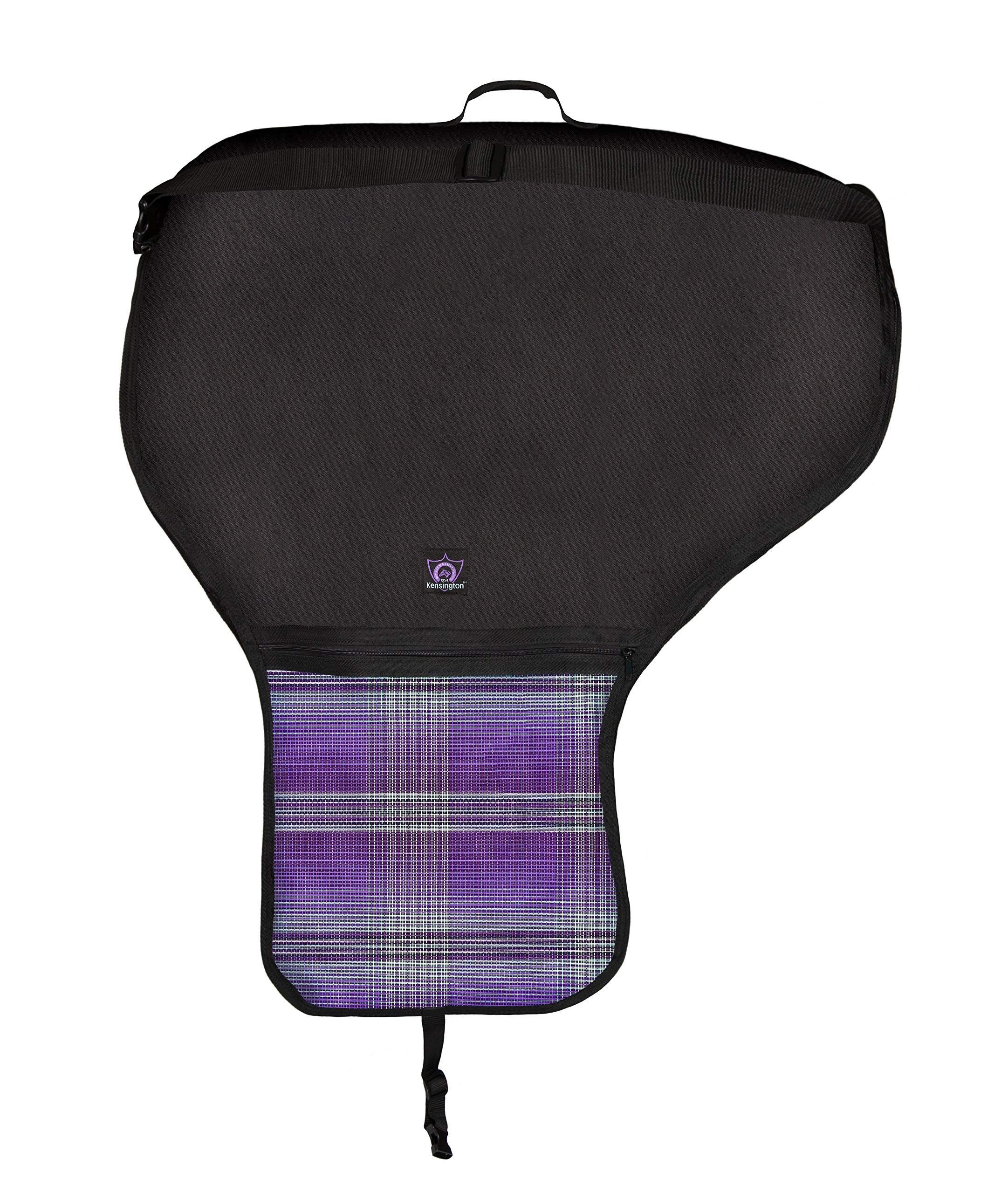 Kensington Protective Products All Around Western Saddle Cover   Waterproof   Breathable   One Size, Lavender Mint Plaid