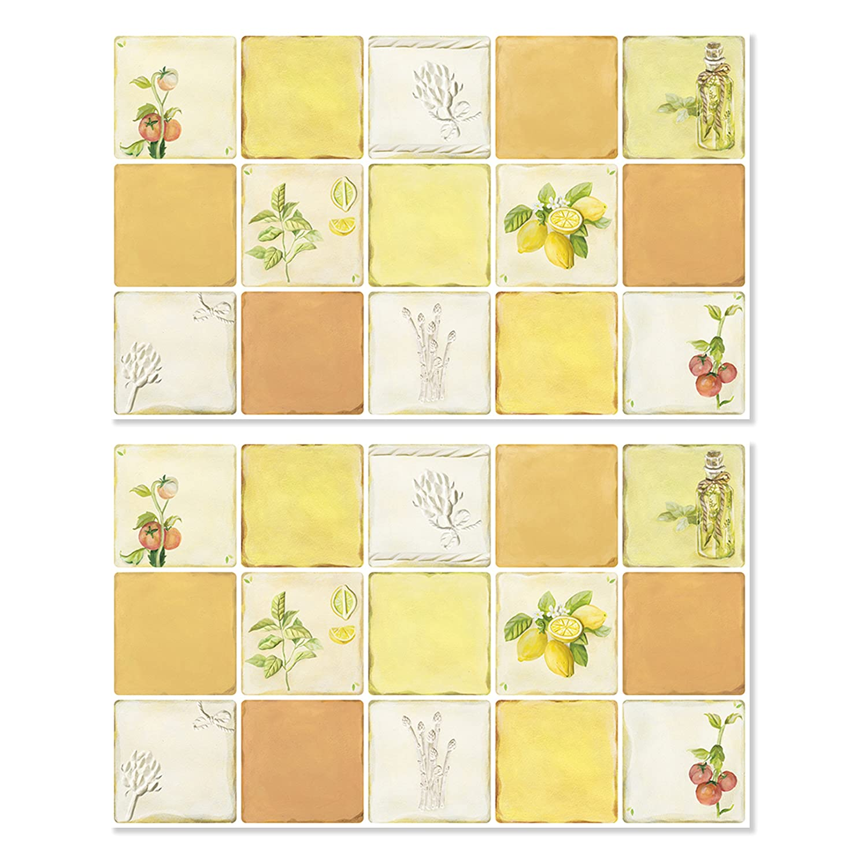 UNIDESIGN Aluminum Kitchen Decorative Stickers Peel and Stick Backsplash Fire retardant Insulation sheet(2pcs) (Herb)