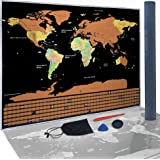 Scratch Off World Map Poster for Tracking Travels - Deluxe Laminated, Gold Foil for Easy Scratching Reveals US States, Countries, Continents & Flags - Includes Scratcher, Perfect Gift for Travelers