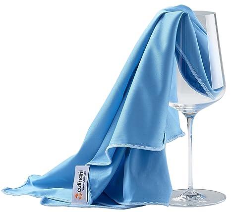 culinarii Paño de pulido en azul con borda azul, limpia copas y decantadores de cristal y superficies brillantes - Fabricado en Austria (1 Paño 40 x 60 cm): ...