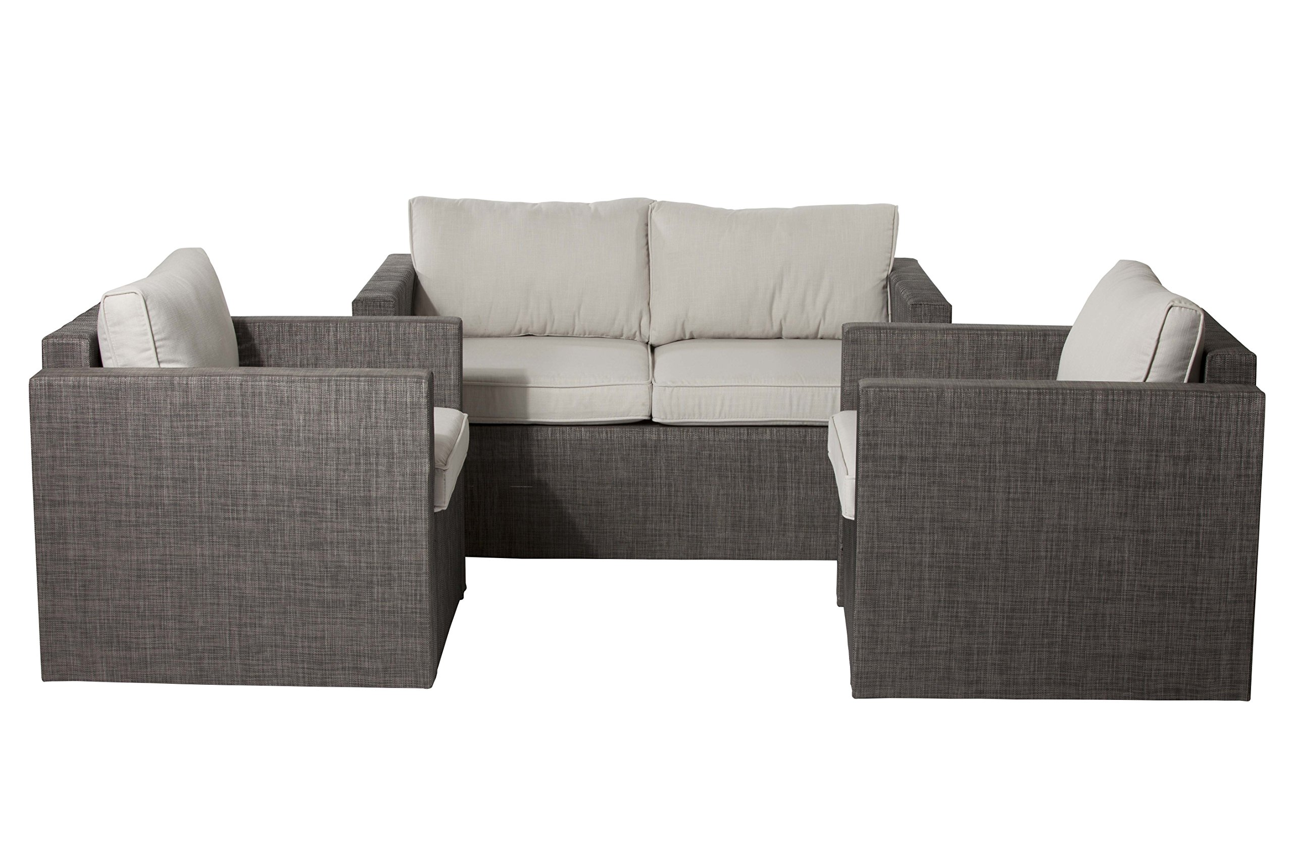 Pangea Home 1+2 Lion Sofa Set Textilene Gold White - Manufacturer: Pangea Home Material Type: aluminum Color NAME: White - patio-furniture, patio, conversation-sets - 91H0rs fmBL -