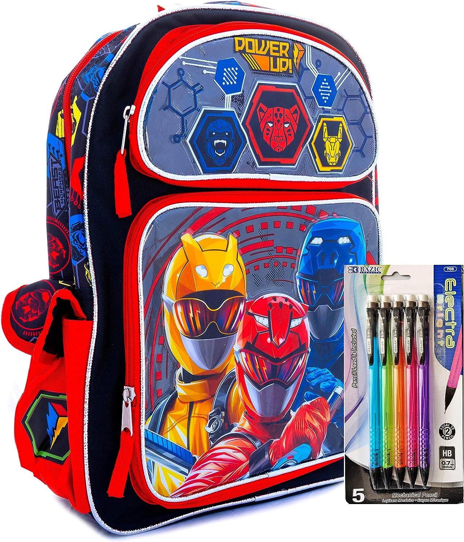 Bundle - 2 Piece Power Ranger 16 Inch Backpack and Lead Pencil School Bag, Travel Bag