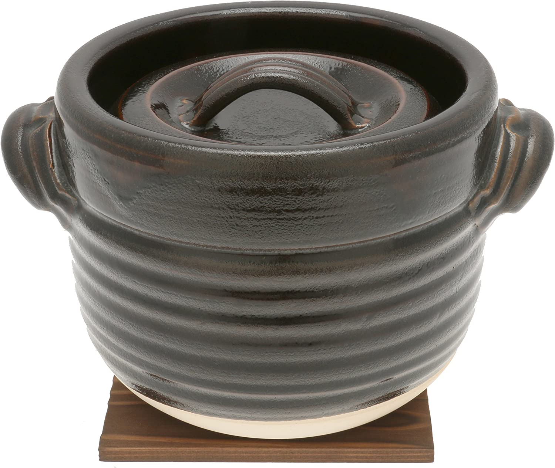 Kotobuki 190-813 Japanese Tenmoku Earthenware Rice Pot, Brown