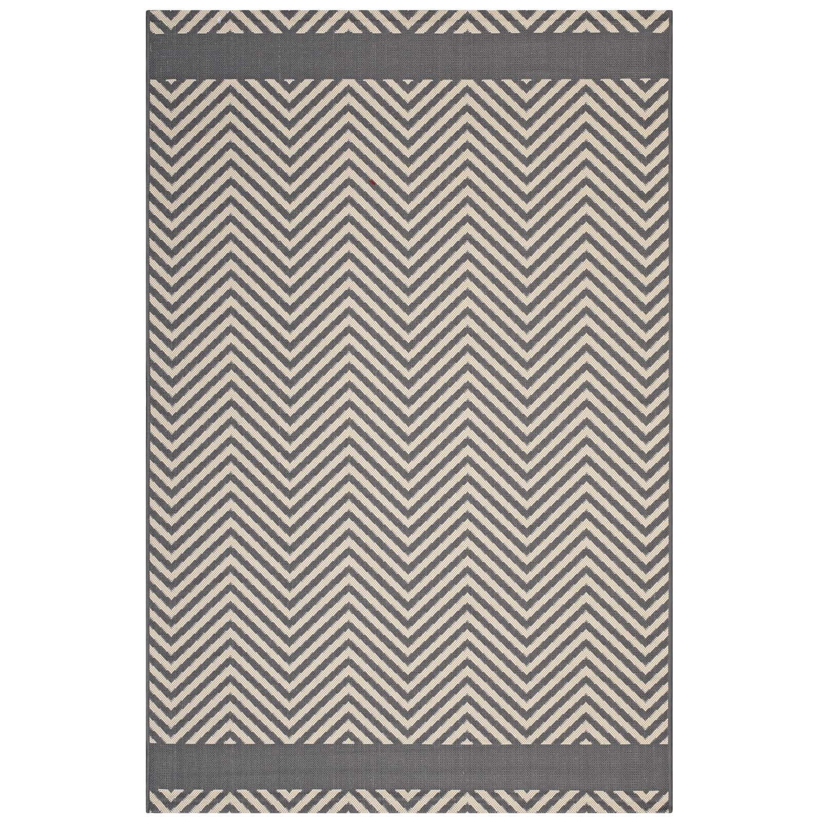 Modway R-1141B-58 Optica Chevron with End Borders Indoor and Outdoor Area Rug, Gray/Beige