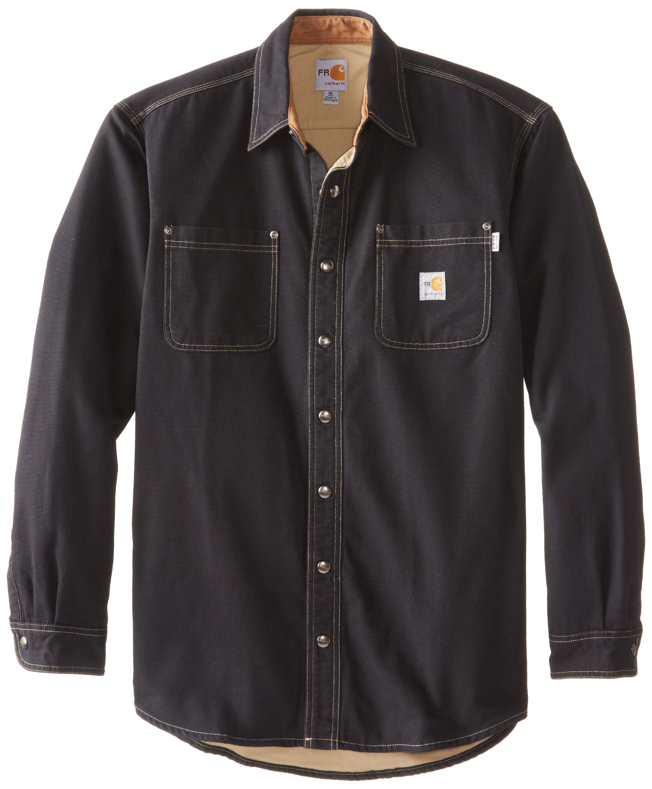 Carhartt Men's Big & Tall Flame Resistant Canvas Shirt Jacket,Black,XXXX-Large Tall