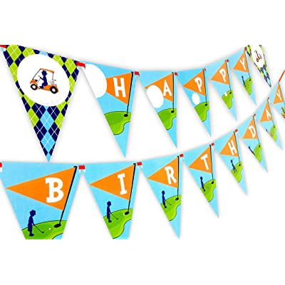 Golf Party Happy Birthday Banner Pennant: Toys & Games