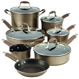 Anolon 12-Piece Advanced Hard-Anodized Nonstick Cookware Set, Bronze