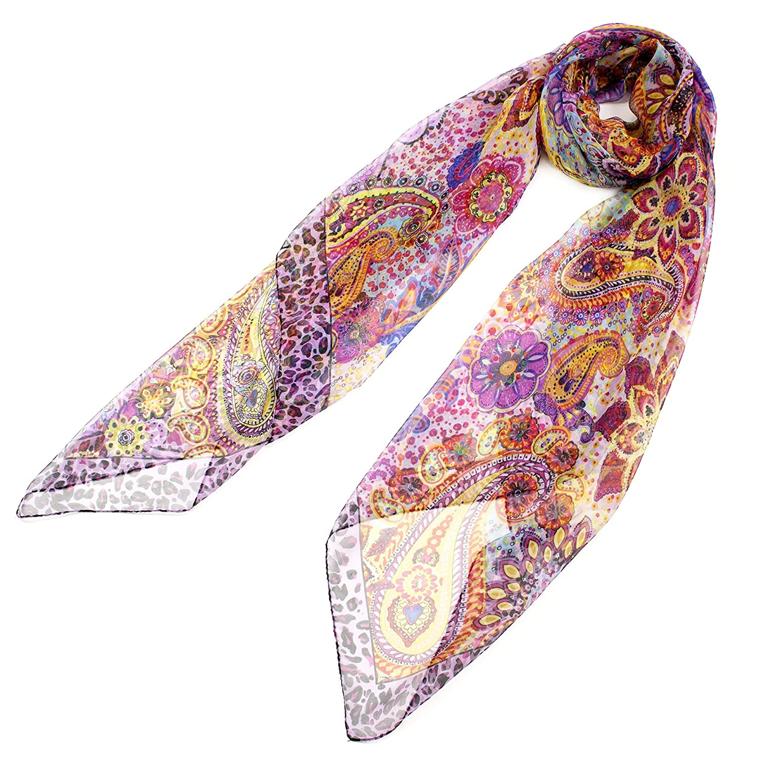 "Leisureland Women's 60% Silk Purple Paisley Floral Scarf 54"" x 54"" Large Size"