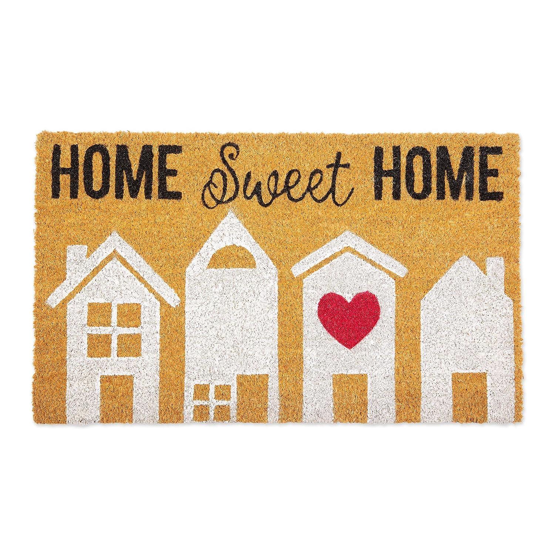 "DII CAMZ11128 Indoor/Outdoor Natural Coir Easy Clean PVC Non Slip Backing Entry Way Doormat for Patio, Front, Weather Exterior Doors, 18x30"", Sweet Home"