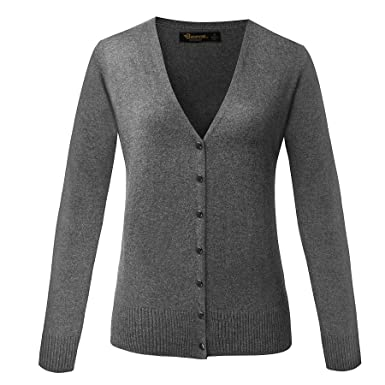 a58009db7cb2b BAOMOSI Women s V-Neck Wool Long Sleeve Soft Classic Knit Cardigan ...