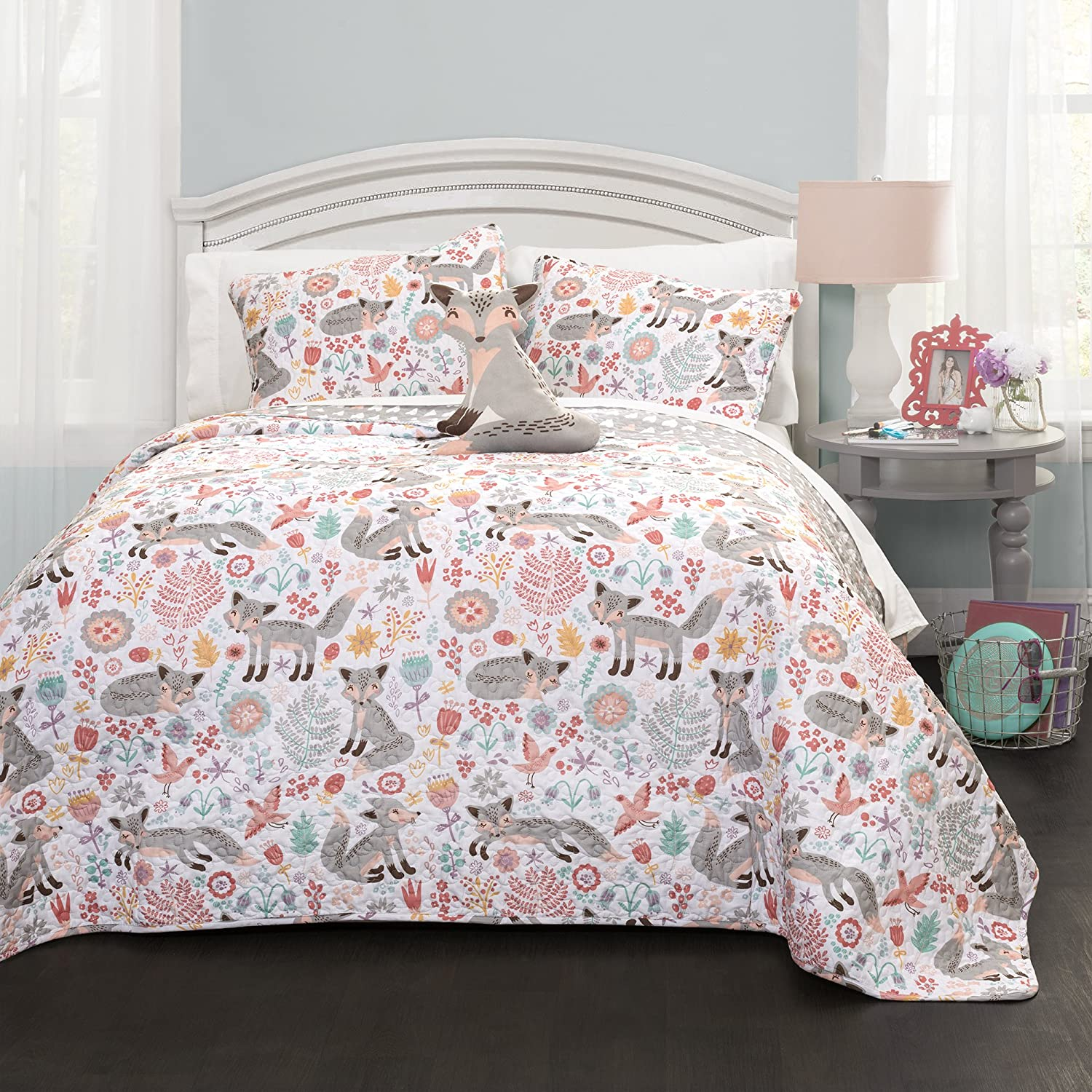 Lush Decor Pixie Fox Quilt Reversible 4 Piece Bedding Set - Gray/Pink - Full/Queen Quilt Set