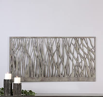 ec3a2bf7ef Image Unavailable. Image not available for. Color: My Swanky Home Contemporary  Open Silver Metal Wall Art ...