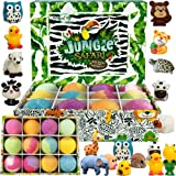 Bath Bombs for Kids with Surprise Inside - Set of 12 Organic Bubble Bath Fizzies with Jungle Animal Toys. Gentle and…