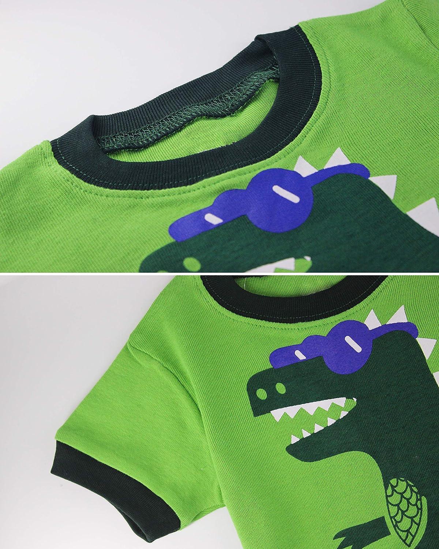 Pajamas for Boys Kid Clothes Dinosaur PJs Long Sleeve 4-Piece Sets Sleepwear 1-12 Years