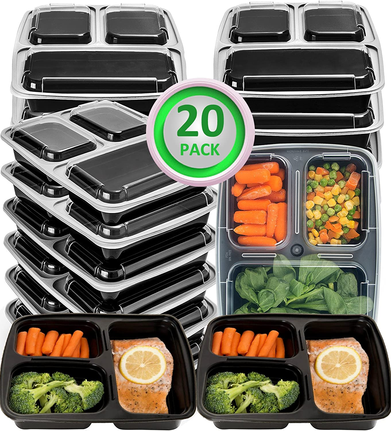 34oz Divided School Lunch FOOD STORAGE Plastic Container Microwave Dishwash Safe