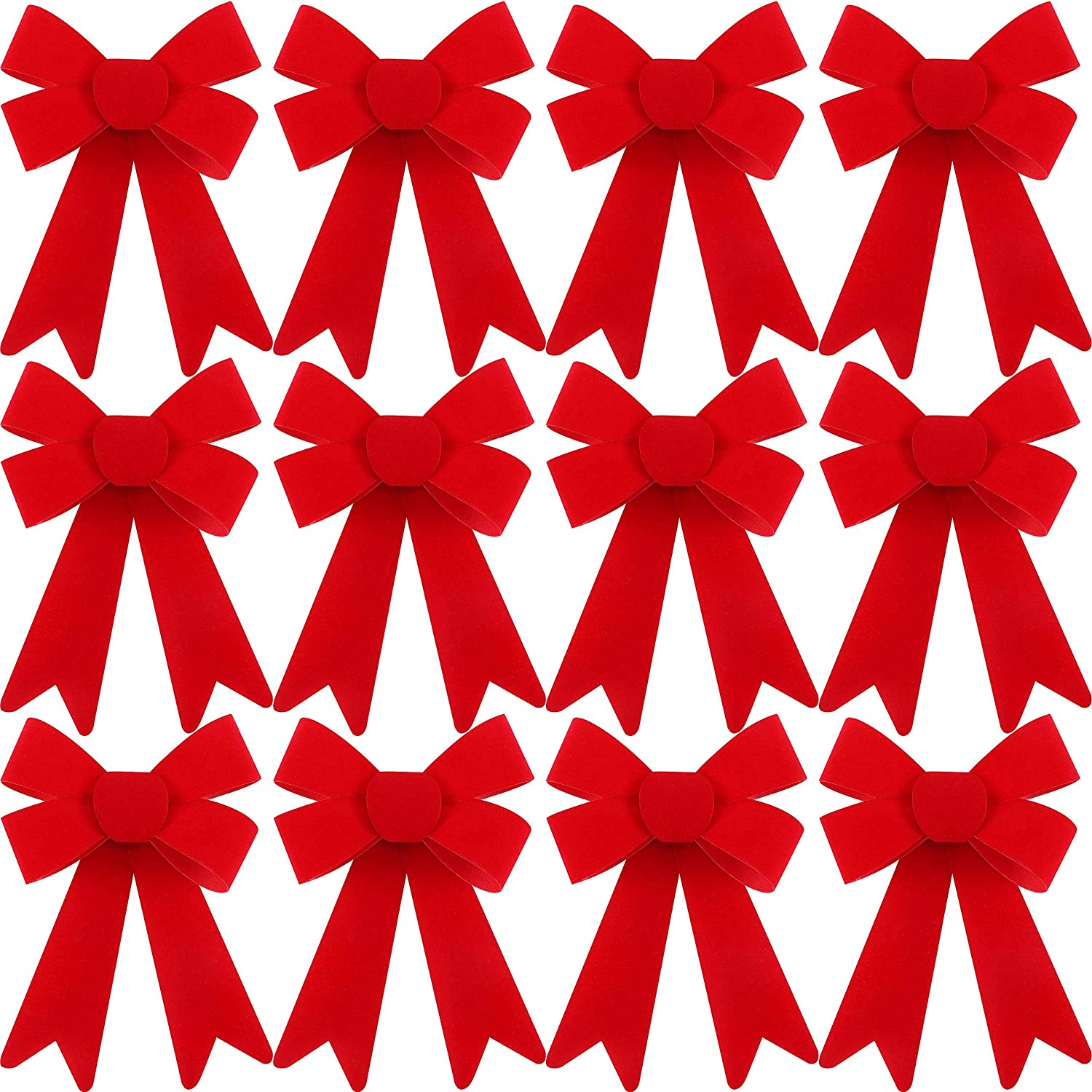 Syhood 12 Pieces Christmas PVC Plastic Bows Red Holiday Decorative Bows for Christmas Party Supplies, 5 x 7 Inch