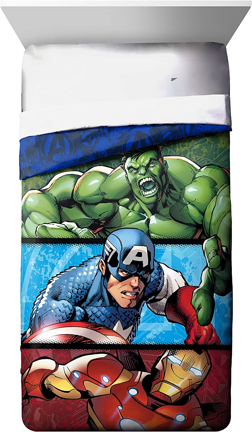 Marvel Avengers Publish Full Comforter - Super Soft Kids Reversible Bedding features Iron Man, Hulk, and Captain America - Fade Resistant Polyester Microfiber Fill (Official Marvel Product)