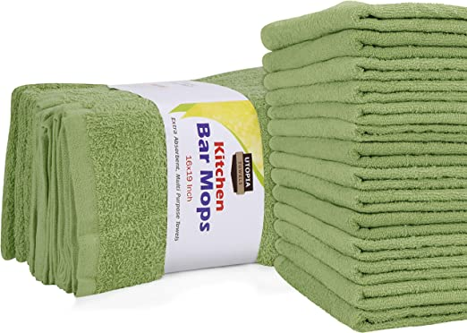 12 new extra large bar mops shop towel 16x19 stripe 30-oz thick heavy duty