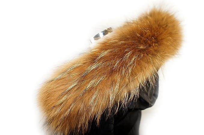 Cuello Desmontable finnr accoon Capucha Cuello pelo rayas Real de auténtico pelo piel, color marrón: Amazon.es: Ropa y accesorios