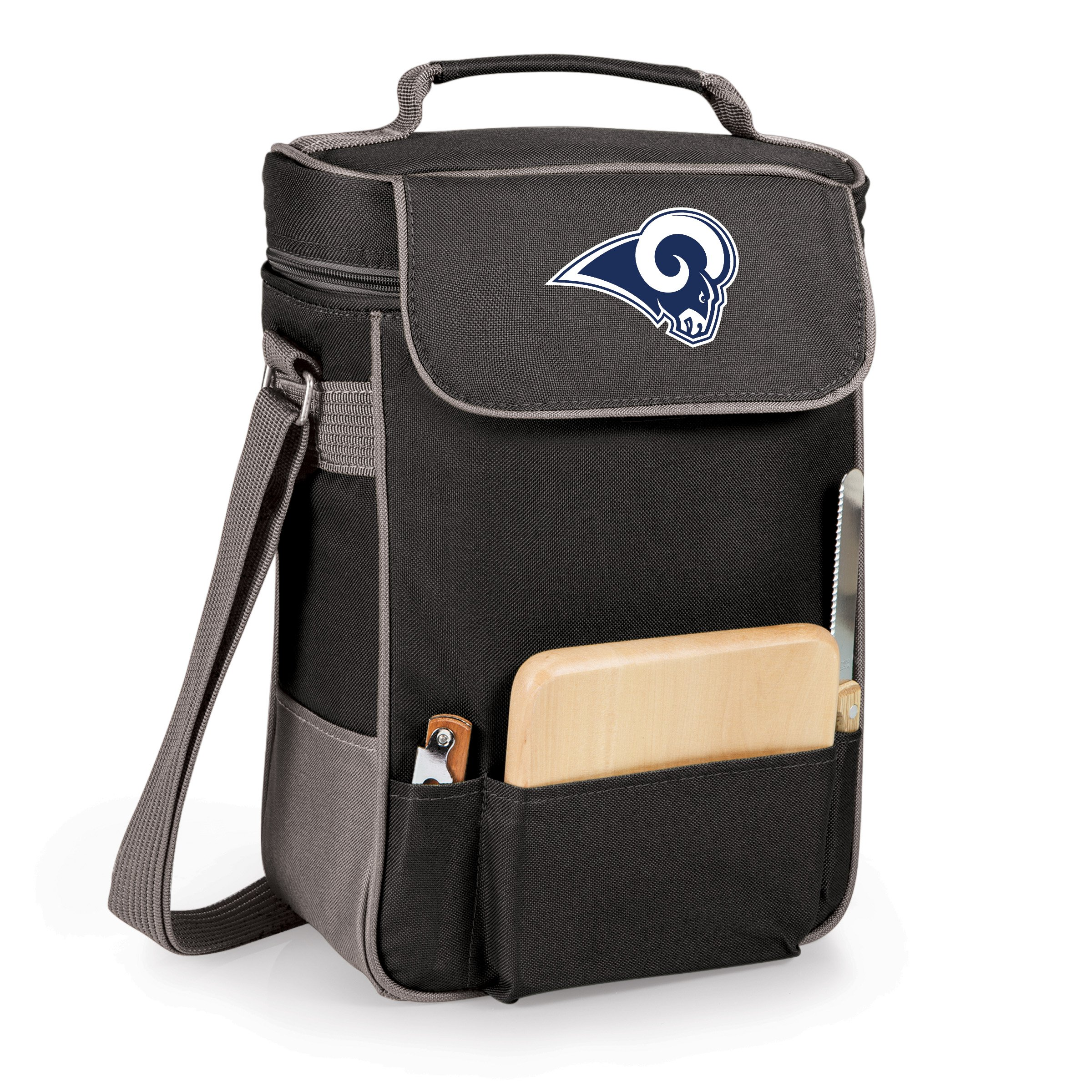 PICNIC TIME NFL LA Rams DDuet 2-Bottle Wine and Cheese Tote, Black