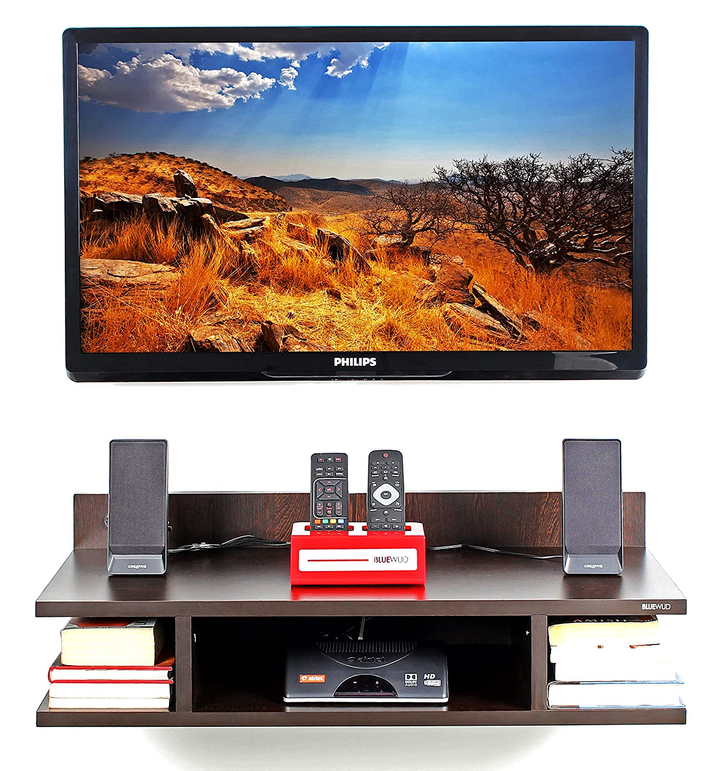 3e3edd6675c Bluewud Reynold TV Entertainment Unit Wall Set Top Box Stand Shelf  (Standard Wenge)  Amazon.in  Home   Kitchen