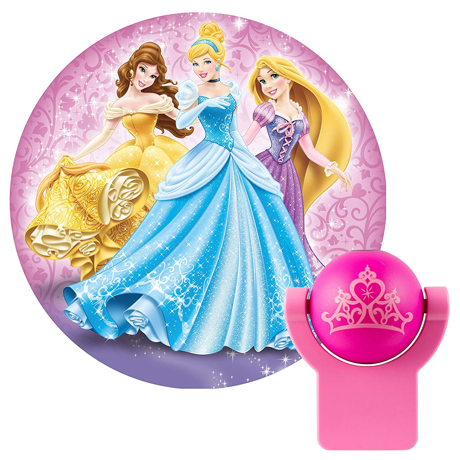 Projectables 13230 Princess LED Plug-In Night Light, Pink, Light Sensing, Auto On/Off, Projects Disney Characters Aurora, Rapunzel, and Belle Image on Ceiling, Wall, or Floor