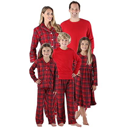 SleepytimePjs Holiday Family Matching Red Plaid Flannel Thermal Pajamas PJs  Sets for The Family Infant ... 063cb90f0