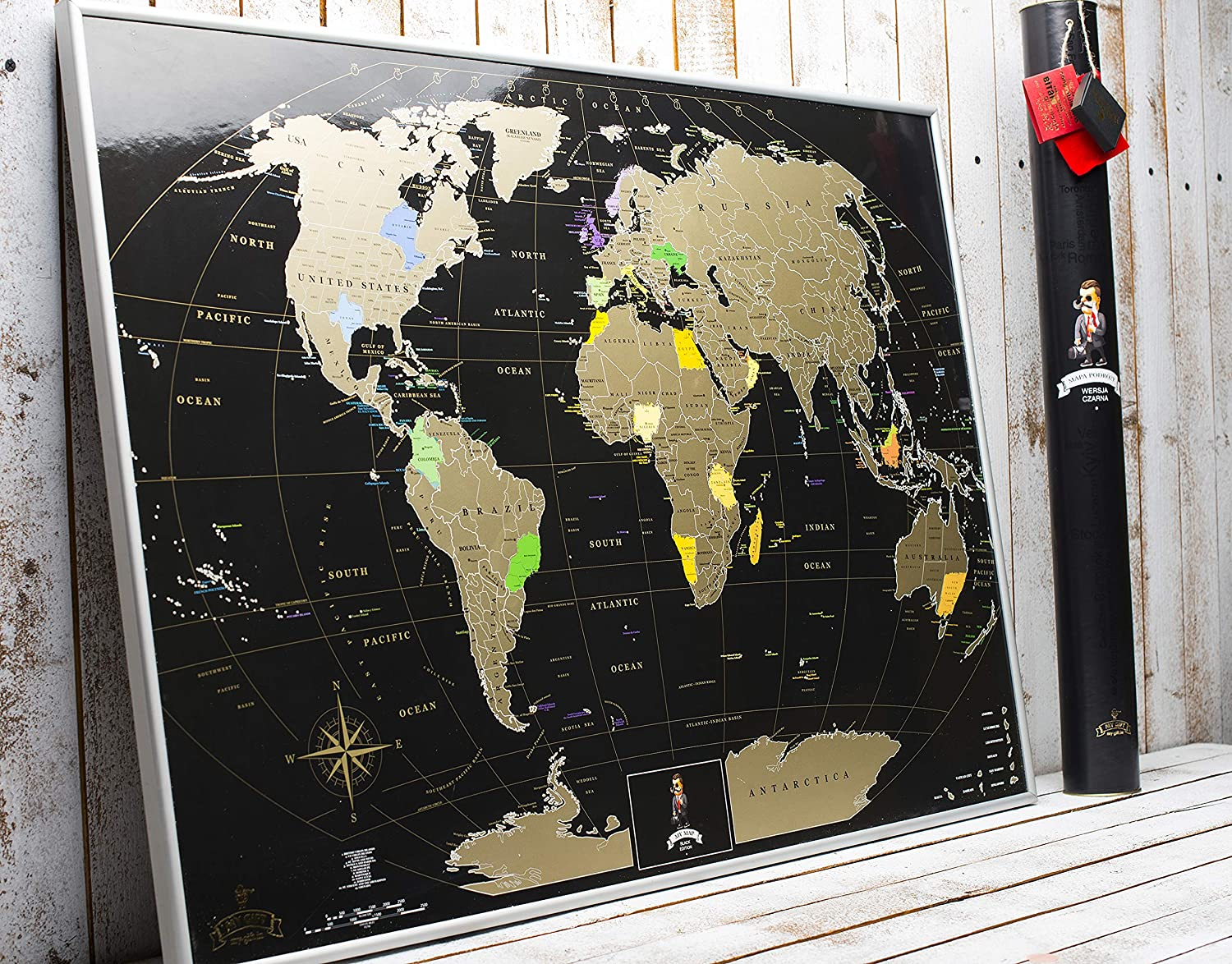Scratch off World map Large map 88*63cm Coffee Edition by MyMap with divided USA Canada map States Birthday Anniversary Idea  Travel map Push pin map