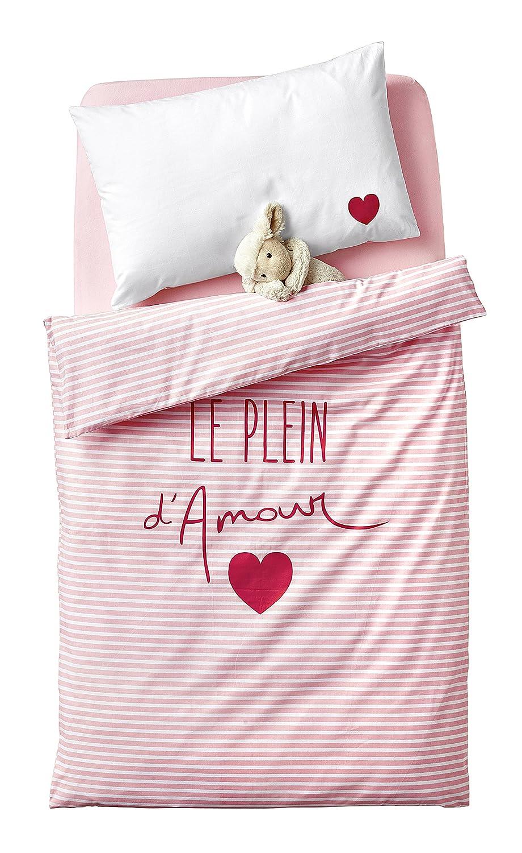Vertbaudet Baby-Bettbezug Le Plain d'Amour, Baumwolle, Rose Imprimé, 100X120