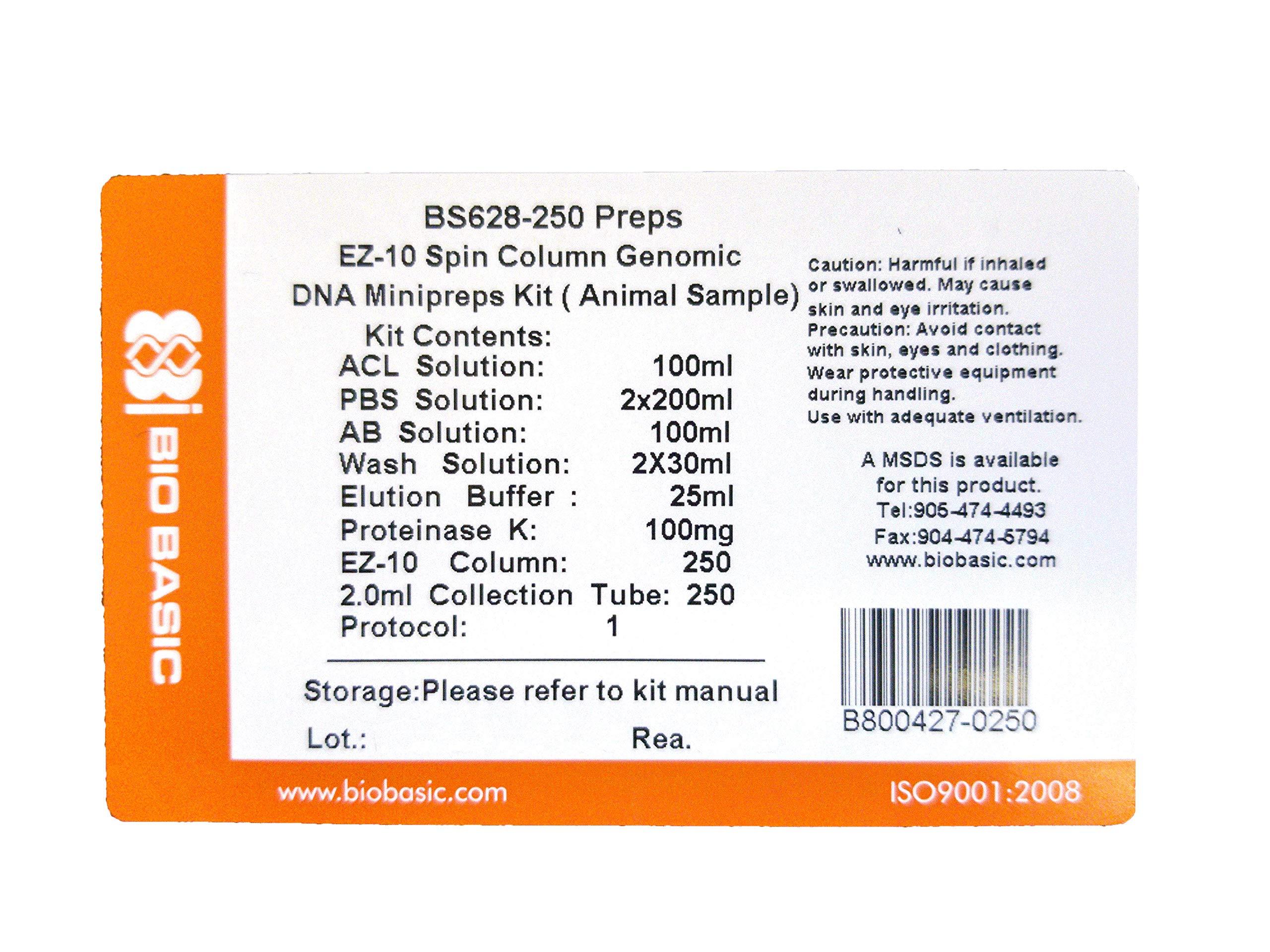 EZ-10 Spin Column Animal Genomic DNA Miniprep Kit, 250 Preparations by Bio Basic (Image #1)
