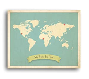 My Roots Personalized World Map 24x18 Print, Kid's World Map Wall Art, Children's Wall Art Print, Kid's Travel World Map, Customized Map, Nursery Décor, Nature Themed Nursery Décor, Nursery Wall Art