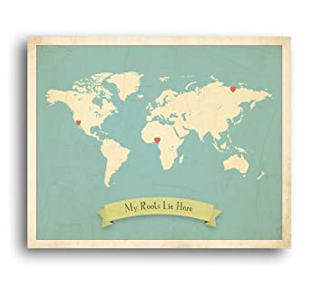 Amazon my roots personalized world map 24x18 print kids world my roots personalized world map 24x18 print kids world map wall art childrens wall gumiabroncs Images