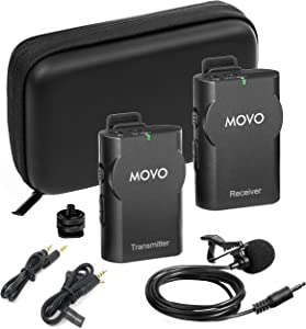 Movo WMIC10 2.4GHz Wireless Lavalier Microphone System for DSLR Cameras, iPhone, iPad,Android Smartphones, Camcorders (50-Foot Transmission Range)