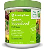 Amazing Grass Green Superfood, Energy Lemon Lime, Powder, 30 Servings, 7.4oz, Matcha Green Tea, Yerba Mate, Wheat Grass, Spirulina, Alfalfa, Acai, Greens, Vegan, Vitamin K, Probiotic
