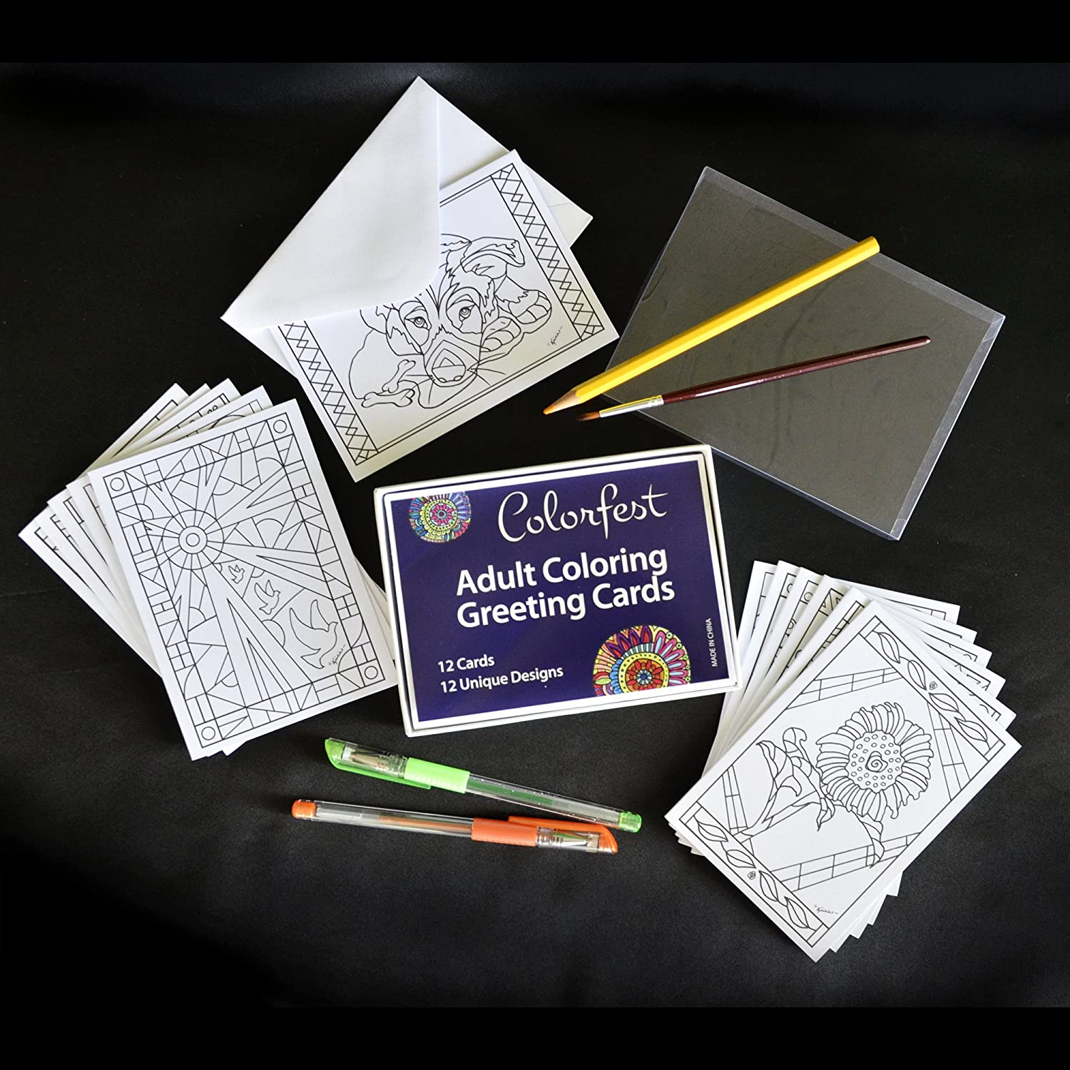 Amazon.com : Adult Coloring Greeting Cards by Colorfest Boxed Set of ...