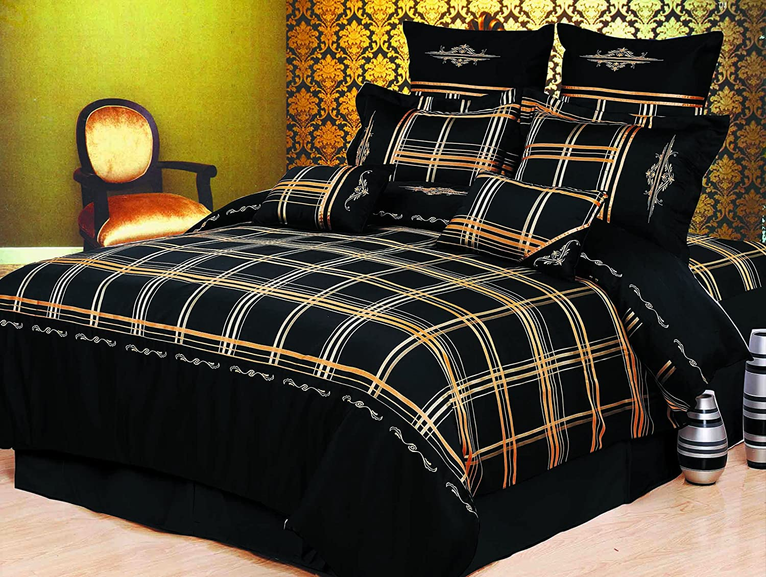 Madison 7-Piece Duvet Cover Set, King, Black