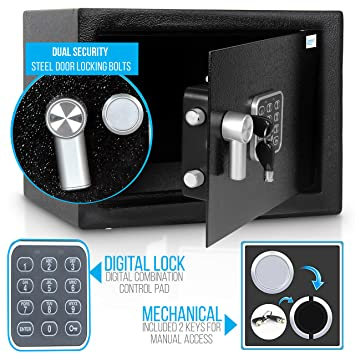 Home Security Electronic Lock Box - Safe with Mechanical Override, Digital  Combination Lock Safe, LED Low Battery Indicator, Includes Mounting Bolts,