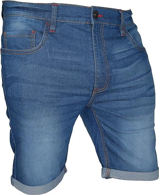 Mens Denim Shorts Regular Fit Distressed Ripped Half Jeans Pants chino